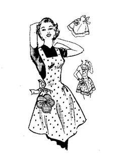 Gosto de aventais femininos, cintados e com peitilho. Digam lá se estes três modelos não dão vontade de passar uma tarde a fazer bolachas e ...