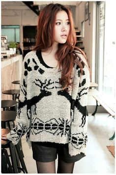 (TOJCK0465) Deer Pattern Loose Fit Sweater