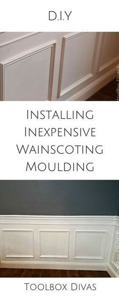 Step by Step DIY how to tutorial installing wainscoting dining room wall treatme. Step by Step DIY how to tutorial installing wainscoting dining room wall treatment beadboard moulding molding trim picture frame Picture Frame Wainscoting, Wainscoting Height, Wainscoting Kitchen, Dining Room Wainscoting, Wainscoting Styles, Picture Frame Molding, Dining Room Walls, Picture Frames, Diy Wainscotting