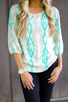 White mint blouse and denim casual outfit