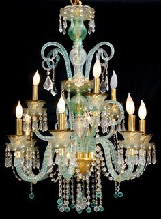 MURANO GLASS CHANDELIER TURQUOISE COLOR