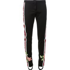 Gucci jersey floral embroidered stirrup trousers ($1,800) ❤ liked on Polyvore featuring pants, black, slim trousers, slim fit pants, gucci pants, low rise pants and gucci