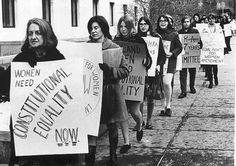 1971: Betty Friedan leads women supporting equal rights for women.