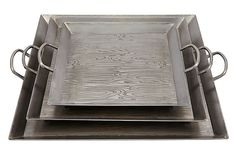 Etched Woodgrain Square Silver Trays (One World via OKL)