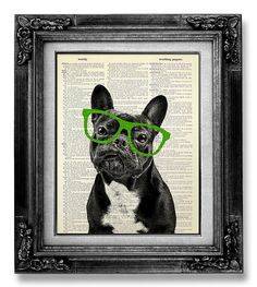 GEEKERY Office Art, DOG Art Print, Geekery Art, OFFICE Wall Art, Funny Dog Poster, Fun Unique Cool Gift Man, Black Frenchie Green Glasses