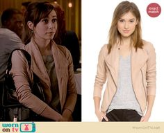 Zelda's blush pink leather jacket on A to Z.  Outfit Details: http://wornontv.net/36298/ #AtoZ