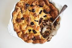 Dark chocolate chunks take your cinnamon bread pudding to the next level.