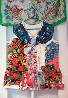 Vintage 1970 Hawaiian TUNIC Top Wearable Collage ART by mybonny, $44.99