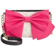 Betsey Johnson Bow Crossbody ($68) ❤ liked on Polyvore featuring bags, handbags, shoulder bags, pink crossbody, quilted purse, pink purse, quilted shoulder bag and betsey johnson purses