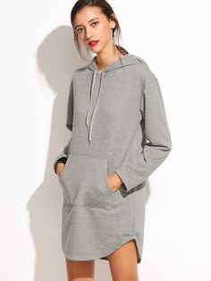 SheIn offers Hooded Pocket Curved Hem Sweatshirt Dress & more to fit your fashionable needs. Casual Wear, Casual Outfits, Fashion Outfits, Womens Fashion, Hijab Style, Mode Hijab, Sweatshirt Dress, Winter Dresses, Dress Winter