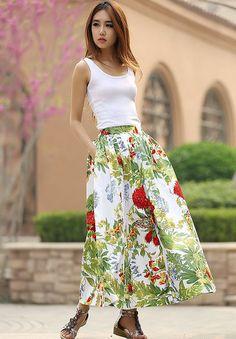 floral skirt    women maxi skirt new long skirt   by xiaolizi, $59.00