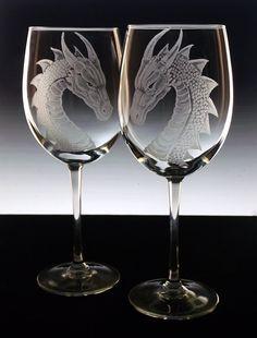 Dragon wedding glasses  bride groom  by GlassGoddessNgraving, $53.75