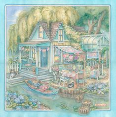 Canalside Cottage Watercolor Painting by Kim by KimJacobsArt
