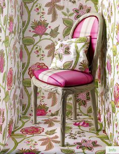 Manuel Canovas floral wallpaper in peony pink and Nettle green can be purchased through Jane & 35 best Shanghai garden Collection images on Pinterest | Designers ...