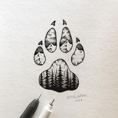 "13.8k Likes, 97 Comments - Sam Larson (@samlarson) on Instagram: ""Lil paw. #art #illustration #wolf"""