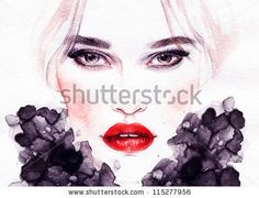 Woman face. Hand painted fashion illustration - stock photo id 115277956