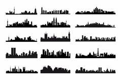Download here Free City Skyline Silhouettes Kit Vector Graphic in EPS file format.This can be used for any architecture and building related design themes.