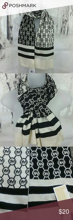 """Michael Kors MK Sparkly Cream/Black Scarf NWT Authentic MK Reversible Logo Scarf, 64"""" x 9"""", Fall 2017 Collection, New With Tags 🖤 MICHAEL Michael Kors Accessories Scarves & Wraps"""