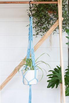 Light Blue Macrame Plant Hanger // Indoor Planter by KnottyBloom