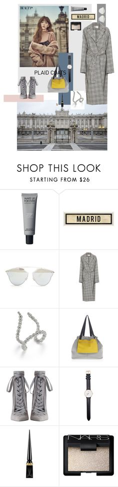 """grey plaid coat by #roxariaone"" by roxariaone ❤ liked on Polyvore featuring Christian Dior, Zimmermann, Jules Smith, Versace, Daniel Wellington, Christian Louboutin and NARS Cosmetics"