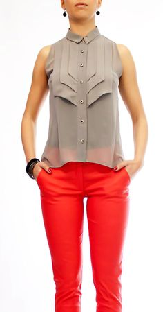 Grey Blouse Chiffon Shirt Chiffon Top by HannaBoutiqueDesign