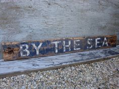 Rustic Distressed By The Sea 3 Ft Wood Beach Decor Sign by TheUnpolishedBarn, $59.99