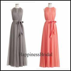 Custom A-line Jewel Sleeveless Floor-length Chiffon Long Bridesmaid Dress Prom Dress Formal Evening Dress Party Dress 2013 With Sash on Etsy, $94.00