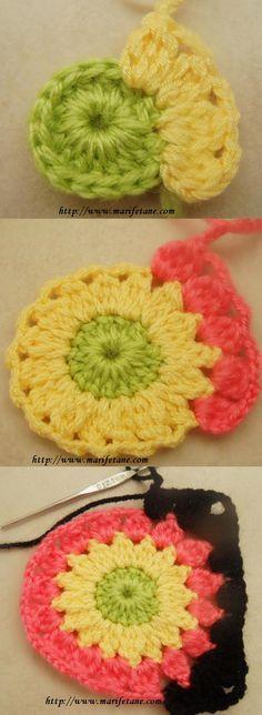 Simple flower motif of 16 cluster stitches . . . . ღTrish W ~ http://www.pinterest.com/trishw/ . . . . #crochet More