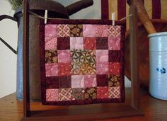 Mini Quilt Stand and Miniature Quilt, Airing the Quilt, Clothesline Quilts