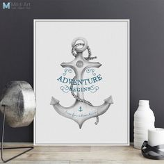 Modern Adventure Quotes A4 Large Canvas Art Print Poster Nautical Anchor Wall Pictures Living Room Home Decor Painting No Frame-in Painting & Calligraphy from Home & Garden on Aliexpress.com | Alibaba Group