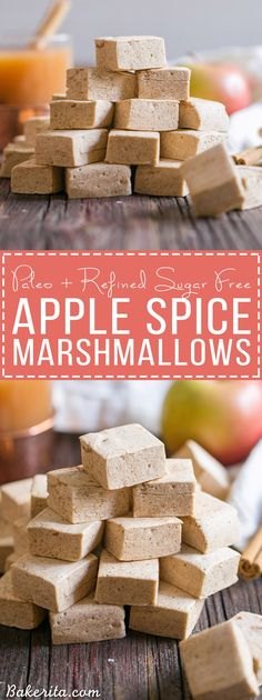 These Paleo Apple Spice Marshmallows are sweetened with maple syrup and flavored with apple juice + loads of warm spices! Homemade marshmallows are easier than you'd think, and you'll love these on their own or as the perfect apple cider addition.