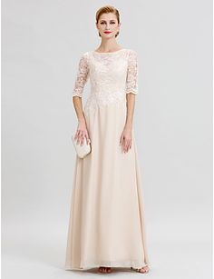 e5b5f0d7d09ca4 [$129.99] Sheath / Column Illusion Neckline Floor Length Chiffon Sheer Lace  Mother of the Bride Dress with Appliques by LAN TING BRIDE®