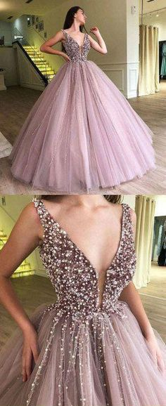Glamorous A-Line Deep V-Neck Floor-Length Pink Tulle Prom/Evening Dress with Beading, Shop plus-sized prom dresses for curvy figures and plus-size party dresses. Ball gowns for prom in plus sizes and short plus-sized prom dresses for V Neck Prom Dresses, Ball Gowns Prom, Formal Evening Dresses, Ball Dresses, Evening Gowns, Dress Formal, Dress Prom, Party Dress, Wedding Dresses