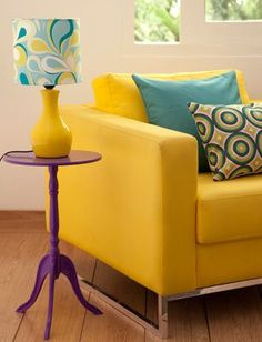 With lashone's furniture. Home Room Design, Living Room Designs, Living Room Decor, Decorating Your Home, Diy Home Decor, Yellow Home Decor, Room Color Schemes, Colorful Decor, Home Furniture