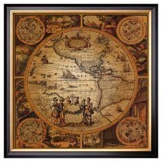 Art.com - Antique Map, Cartographica II - Framed Print, Brown