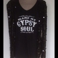 Blame My Gypsy Soul Black v neck Black cotton v neck size xxlarge, all sizes available in my closet Too Pretty Tops Tees - Short Sleeve