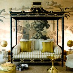 Embracing chinoiserie: this pagoda daybed is elegant, with a blend of traditional elements and contemporary counterparts –– 15 Decorating Ideas to Steal From This Stylish Bachelor Pad!