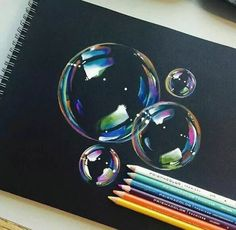 Pencil Drawing Tips bubbles Color Pencil Art, Color Pencil Drawings, Crayon Drawings, Charcoal Drawings, Drawings With Colored Pencils, Prismacolor Drawings, Pencil Art Love, Art Tips, Drawing Tips
