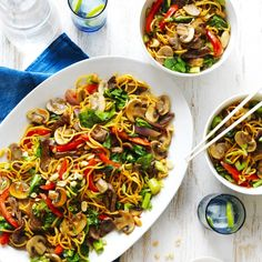 Mushroom, Beef and Noodle Stir-Fry