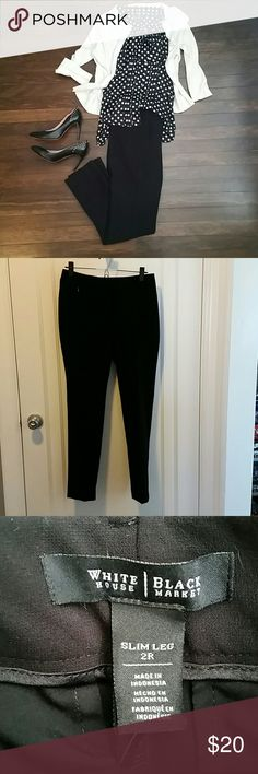 NWOT WHBM slim leg slacks Slim leg slacks. Size 2 but WHBM runs big so more like a 4. Inseam 29 inches. White House Black Market Pants Trousers