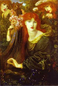"La Ghirlandata 1873 by Dante Gabriel Rossetti  ""The Pre-Raphaelite Brotherhood: The group's intention was to reform art by rejecting what they considered to be the mechanistic approach adopted by the Mannerist artists who followed Raphael and Michelangelo. They believed that the Classical poses and elegant compositions of Raphael in particular had been a corrupting influence on academic teaching of art. Hence the name ""Pre-Raphaelite""."