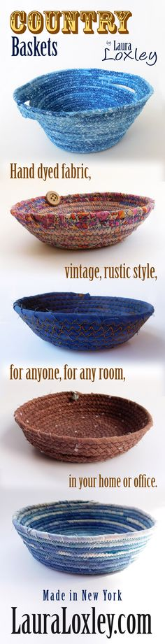 Every country girl needs a chic country basket! LauraLoxlet.com on Etsy has these super cute coiled rope baskets available for quick ship! Handmade using hand dyed premium cotton fabric in Laura's studio! Each basket is truly unique & one of a kind! Make a country statement in your home, shop LauraLoxley.com today!