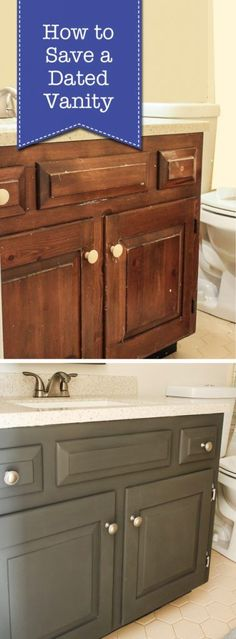 If you have a dated vanity, you may think you have to rip it out and buy a new one. Well, think again. It's not hard to save that dated vanity and make it look like new without spending much money! Al