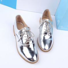 2013 autumn preppy style fashion shoes lacing shoes silver genuine leather low heeled female shoes-inFlats from Shoes on Aliexpress.com