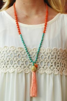Natural Stone & Tassel Necklace