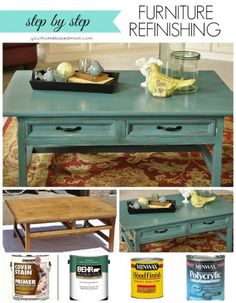 This Furniture Refinishing Project transforms a boring pine coffee table with a couple of coats of teal paint. Step by step how to.