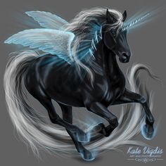 Winter Horse Winged Unicorn by Kate Vigdis on DeviantArt.com