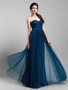 Bridesmaid Dress Floor Length Tulle A Line Convertible Dress (1739560) | LightInTheBox