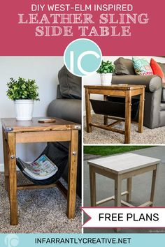 Download the plans to make your own DIY West Elm Inspired Leather Sling Side Table. No opt in necessary.
