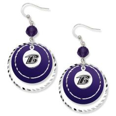 "NFL Baltimore Ravens LogoArt Game Day Earrings by Logo Art. $19.99. RAV068ER-CR NFL Team: Baltimore Ravens Features: -Silverstone brass necklace.-Lobster claw clasp.-3"" Extender chain. Color/Finish: -Team color glass beads and lucite disk. Dimensions: -Dimensions: 21"" L x 1.38"" W x 0.13"" D."